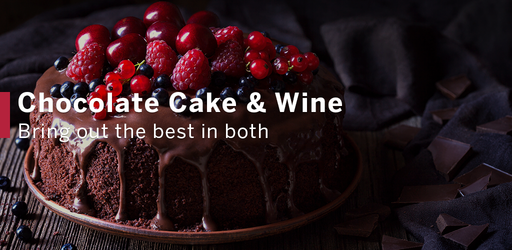 Chocolate Cake Topped with Berries - Perfect Chocolate Wine Pairing