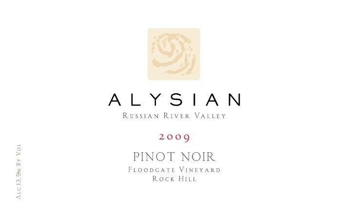 Alysian Floodgate Vineyard Rock Hill Pinot Noir 2009 Front Label