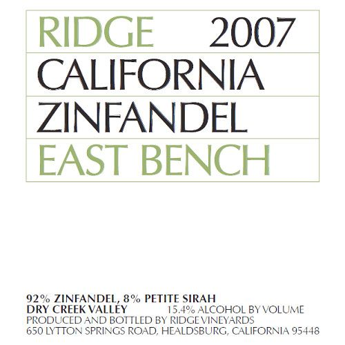 Ridge East Bench Zinfandel 2007 Front Label