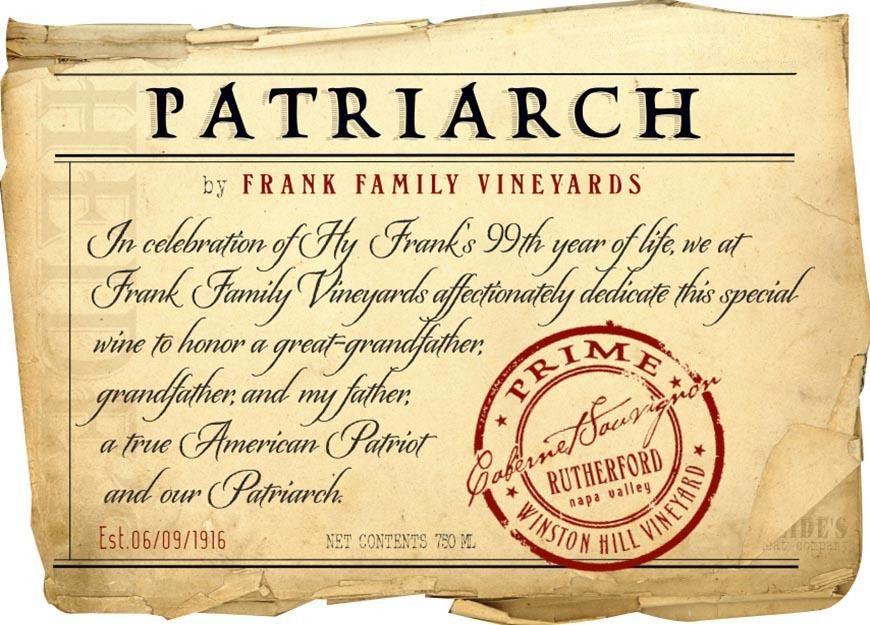 Frank Family Vineyards Patriarch Cabernet Sauvignon 2013 Front Label
