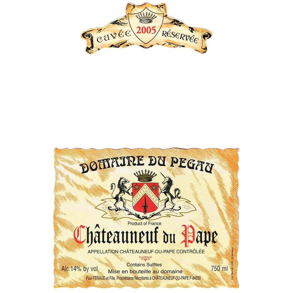 Domaine du Pegau Chateauneuf-du-Pape Cuvee Reservee (stained label) 2005 Front Label