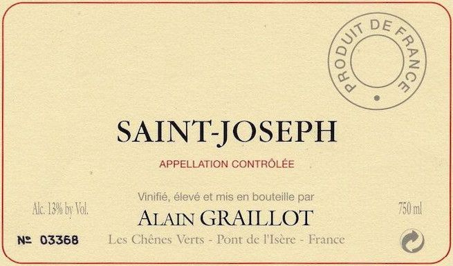 Alain Graillot  Saint-Joseph Rouge 2012 Front Label
