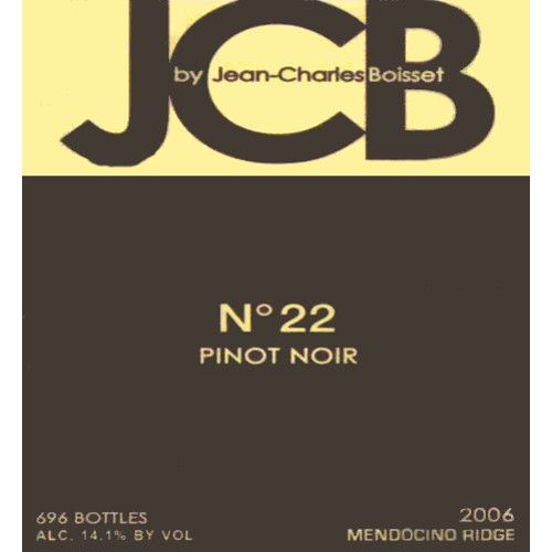 JCB No 22 Pinot Noir 2006 Front Label