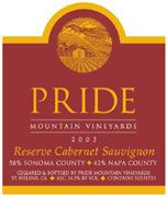 Pride Mountain Vineyards Reserve Cabernet Sauvignon (1.5 Liter Magnum) 2001 Front Label
