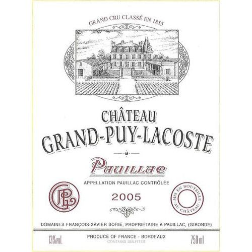 Chateau Grand-Puy-Lacoste  2005 Front Label