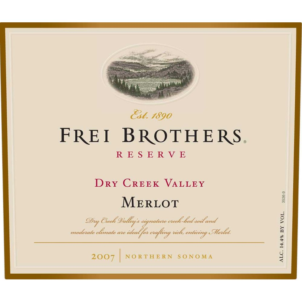 Frei Brothers Reserve Merlot 2007 Front Label