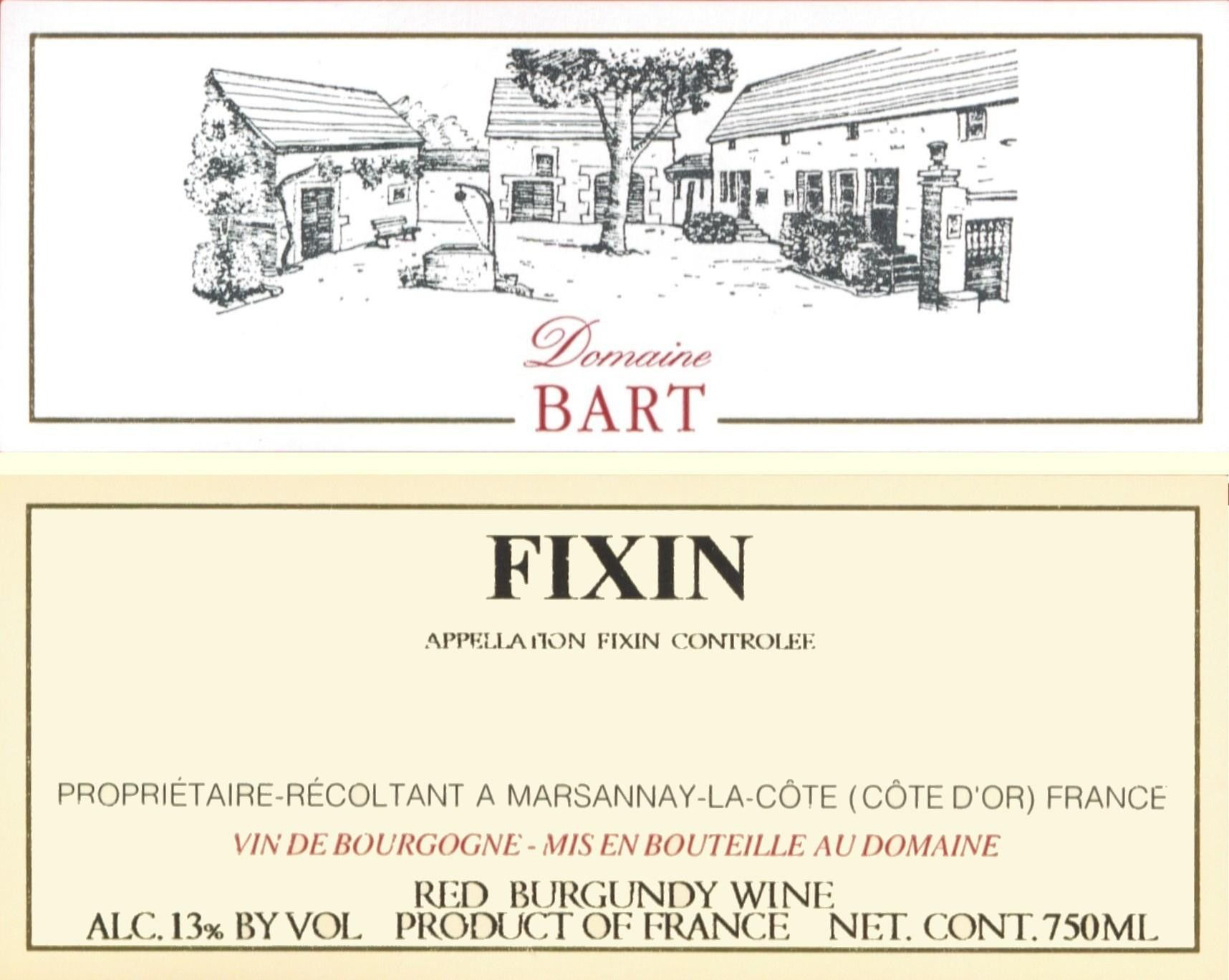 Andre Bart Fixin Rouge 2012 Front Label