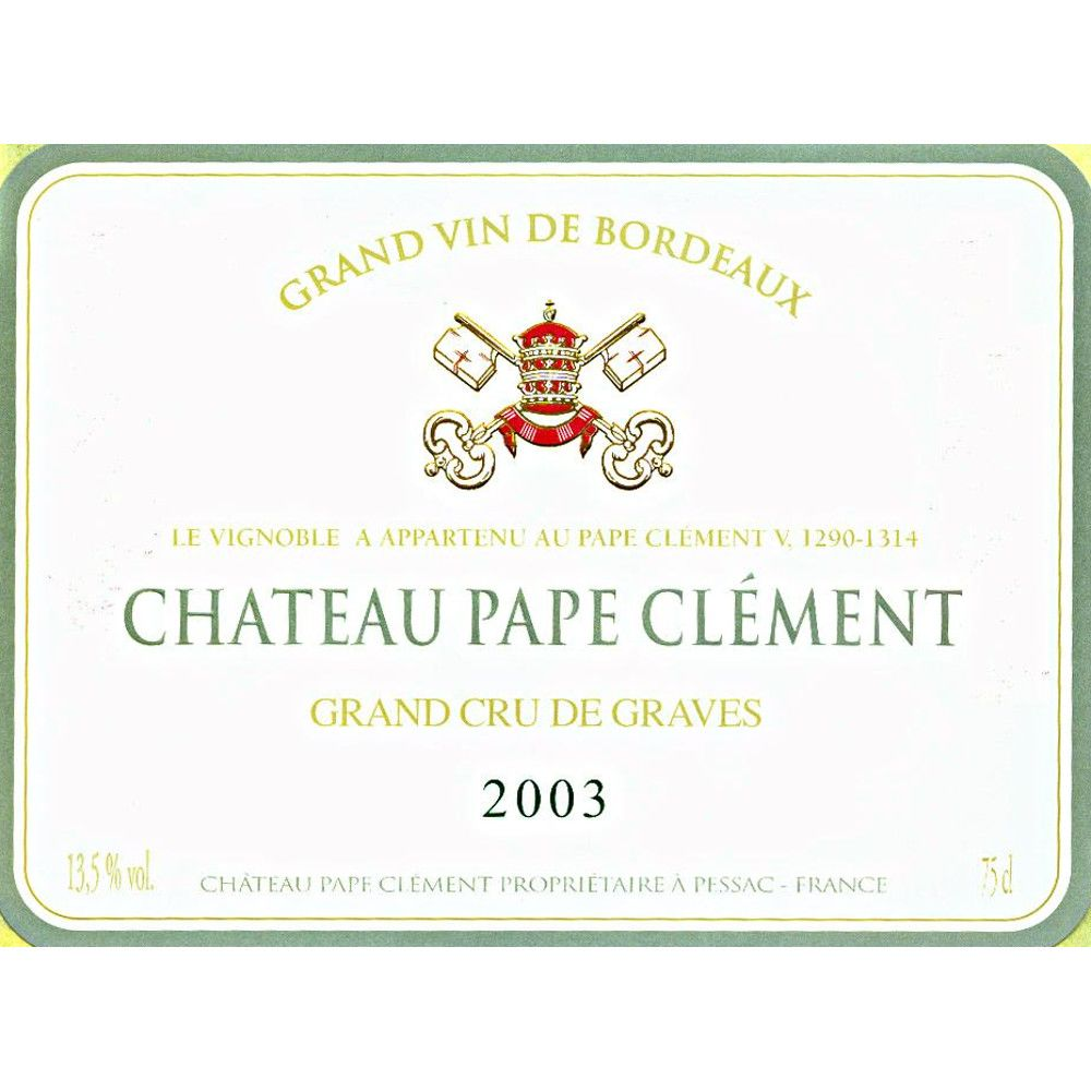 Chateau Pape Clement  2003 Front Label