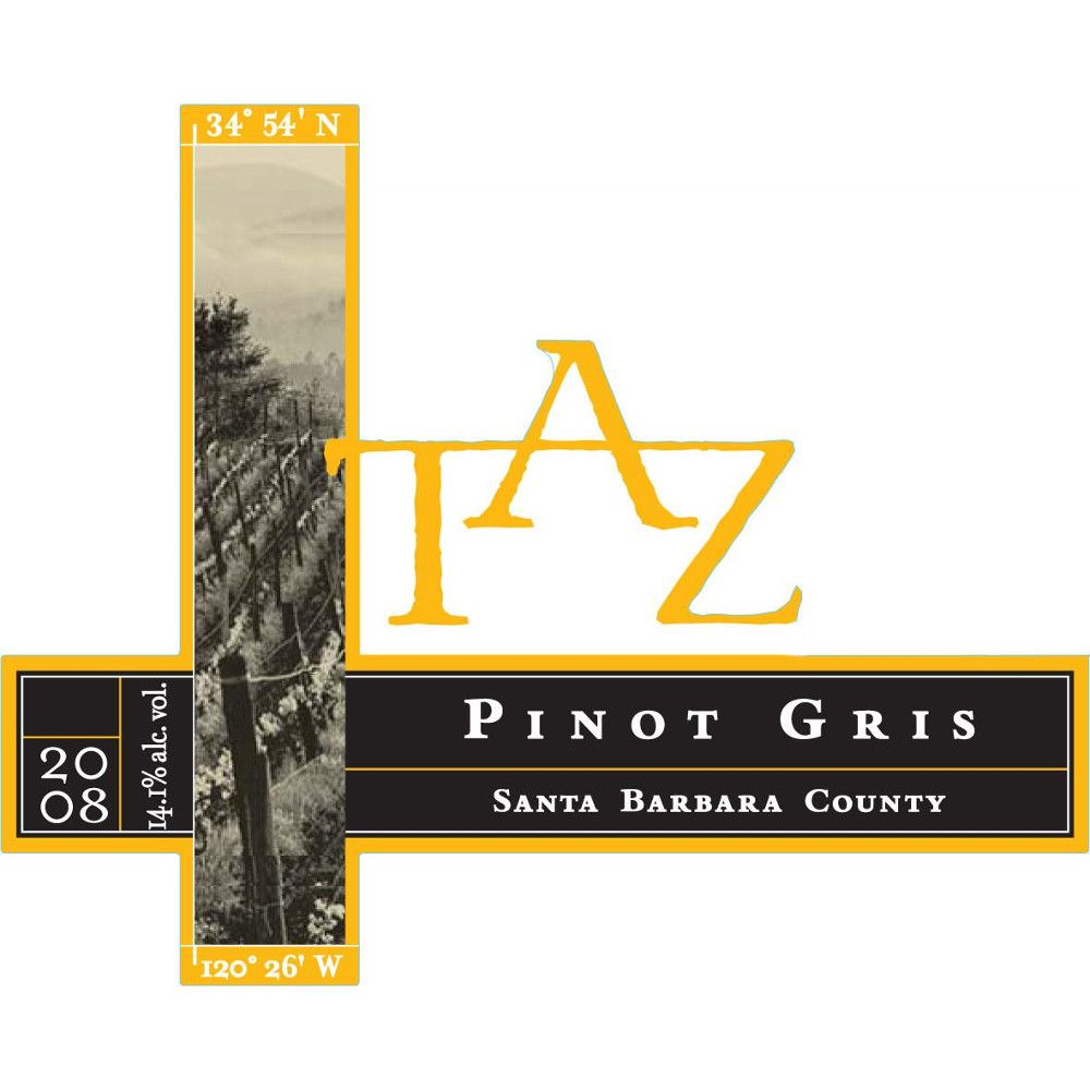 TAZ Pinot Gris 2008 Front Label