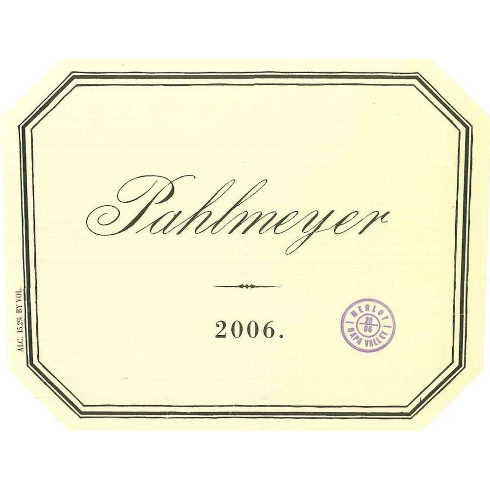 Pahlmeyer Merlot 2006 Front Label