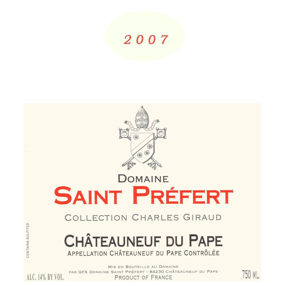 Domaine Saint Prefert Chateauneuf-du-Pape Collection Charles Giraud 2007 Front Label