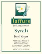 Jaffurs Verna's Vineyard Syrah 2007 Front Label