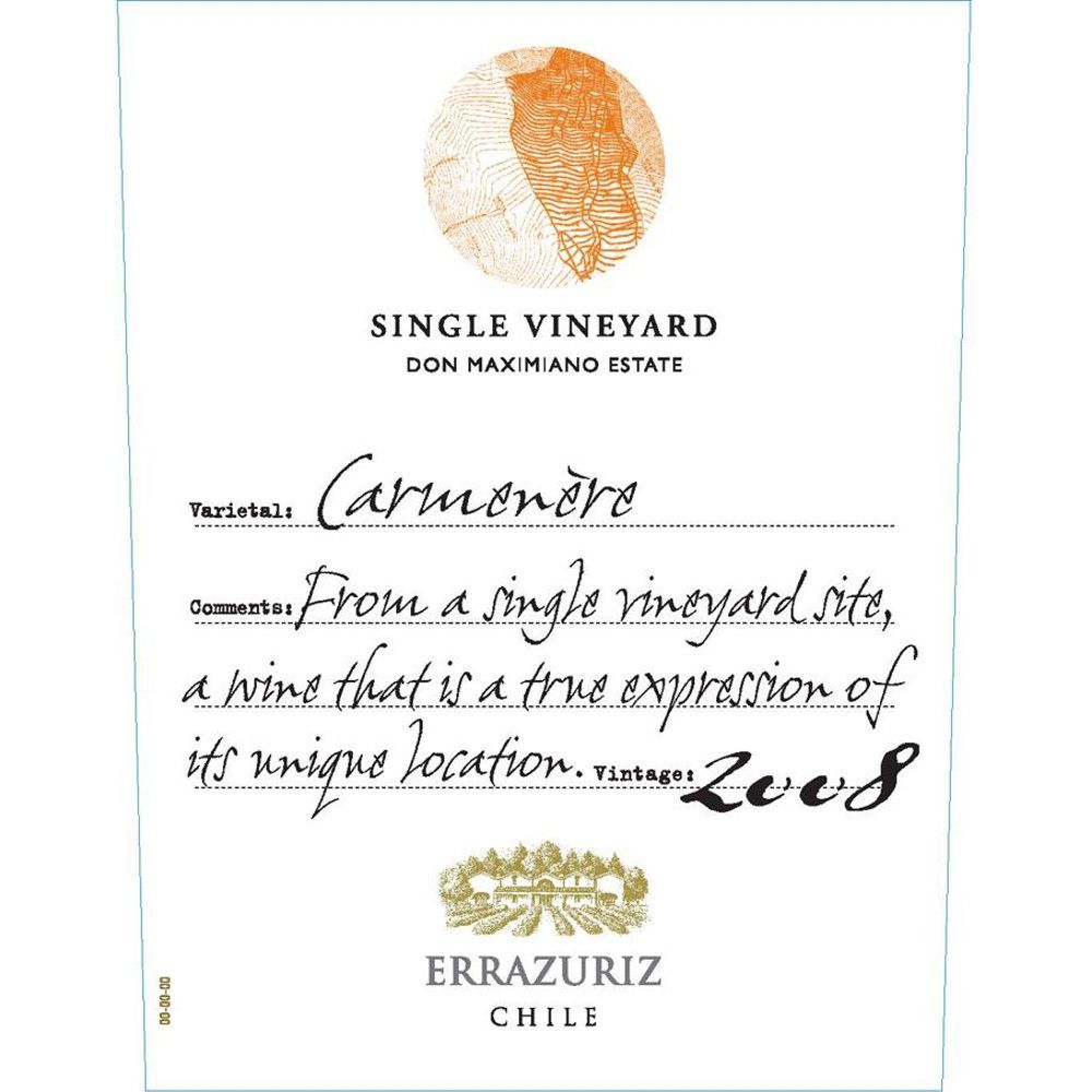 Errazuriz Single Vineyard Carmenere 2008 Front Label