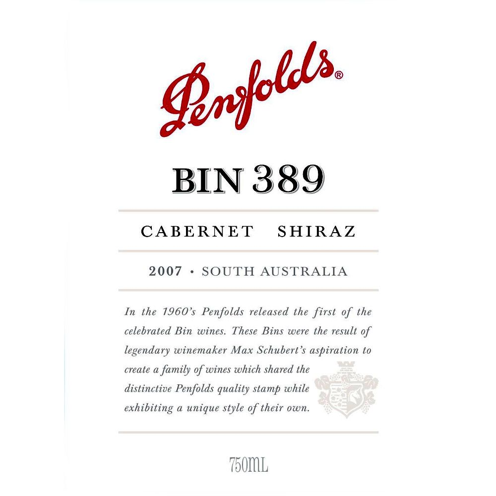 Penfolds Bin 389 Cabernet-Shiraz 2007 Front Label