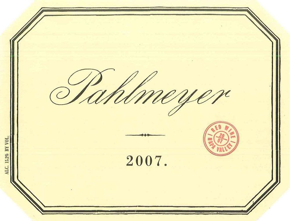 Pahlmeyer Napa Valley Proprietary Red 2007 Front Label