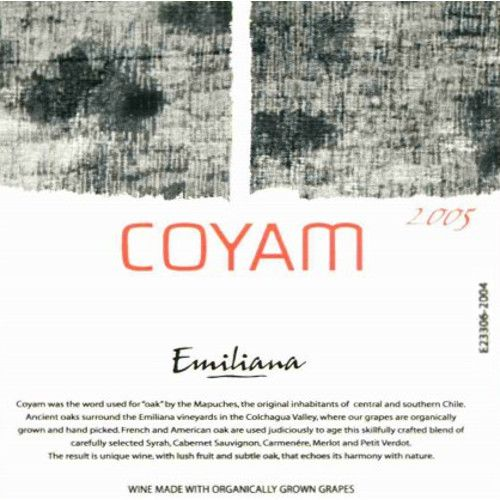 Emiliana Coyam (Certified Biodynamic) 2005 Front Label