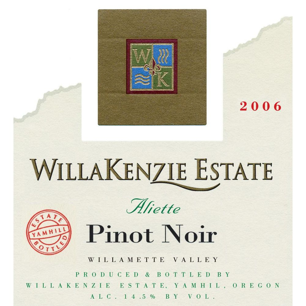 WillaKenzie Estate Aliette Pinot Noir 2006 Front Label