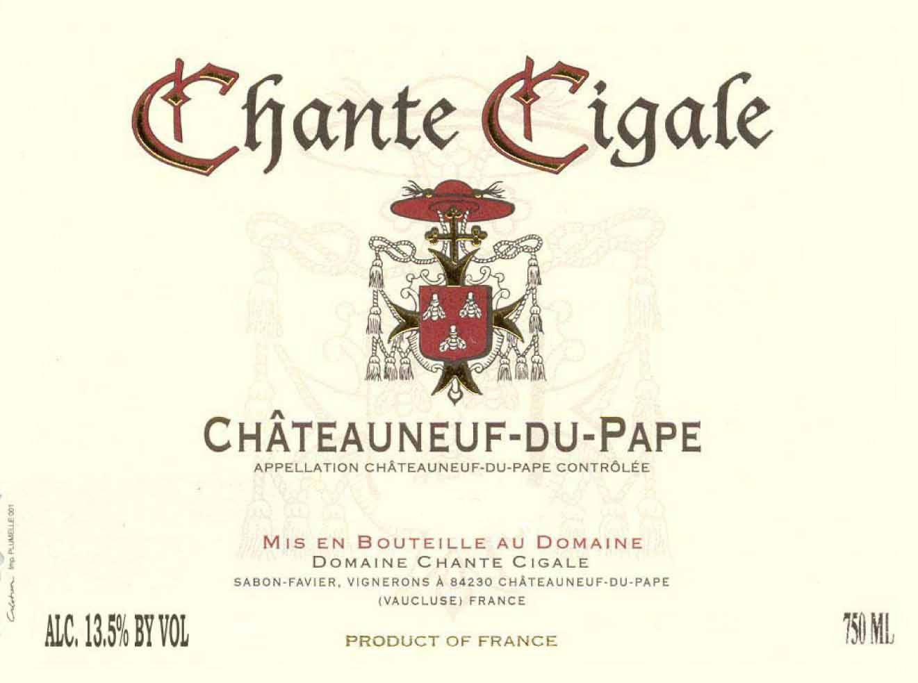 Domaine Chante Cigale Chateauneuf-du-Pape Blanc 2013 Front Label
