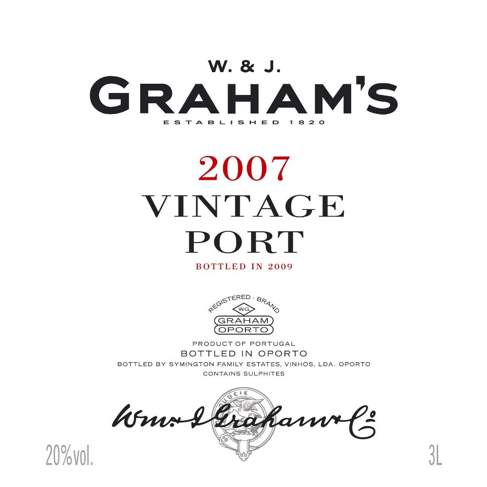 Graham's Vintage Port 2007 Front Label