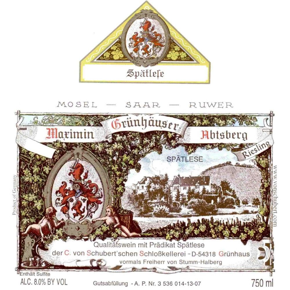 Maximin Grunhauser Abtsberg Riesling Spatlese 2008 Front Label