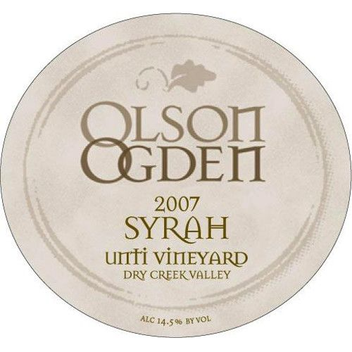 Olson Ogden Unti Vineyard Syrah 2007 Front Label