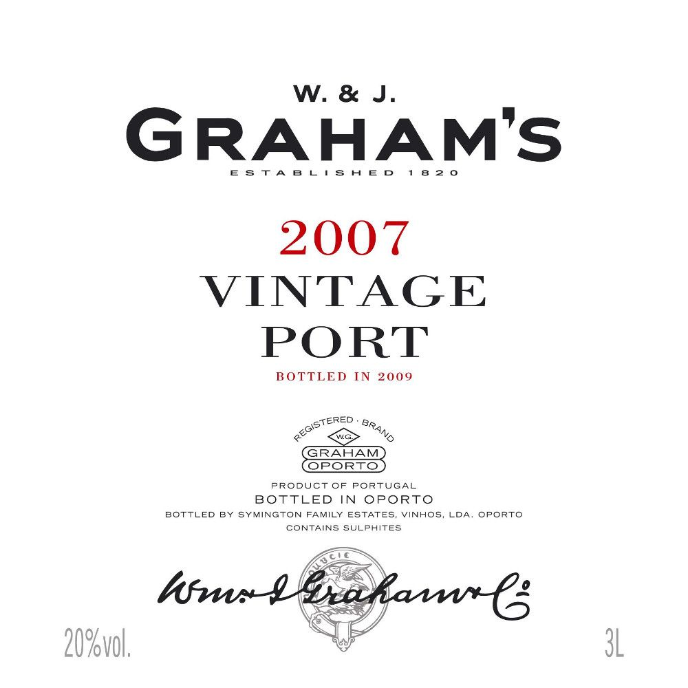 Graham's Vintage Port (375ML half-bottle) 2007 Front Label