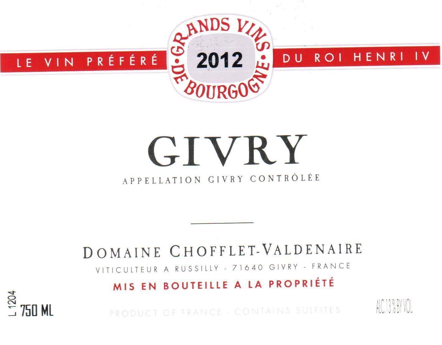 Chofflet-Valdenaire Givry Rouge 2012 Front Label