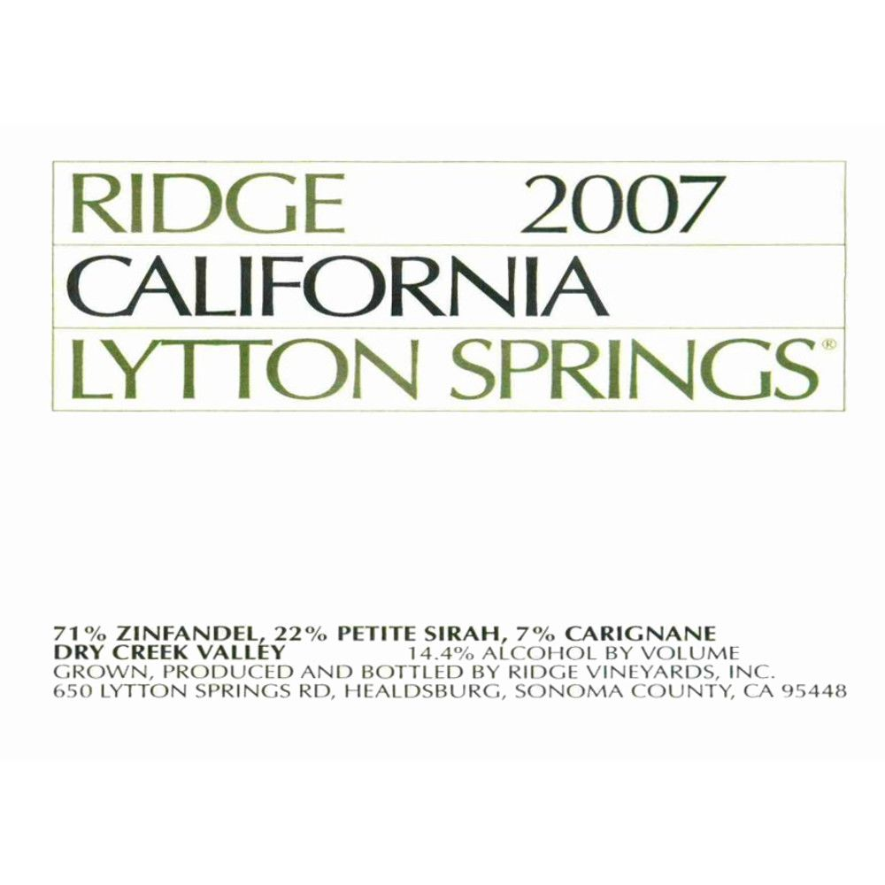 Ridge Lytton Springs (375ML half-bottle) 2007 Front Label