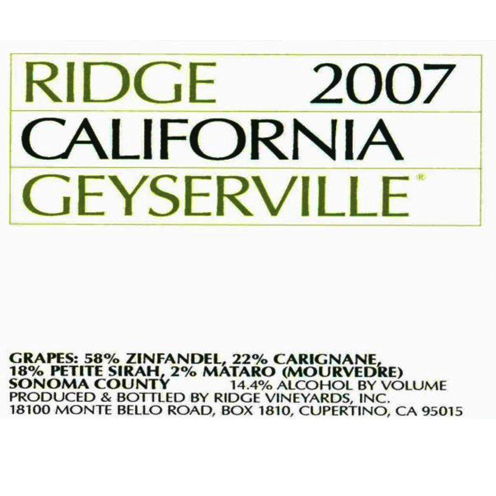 Ridge Geyserville (375ML half-bottle) 2007 Front Label