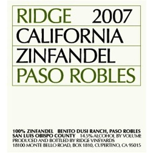 Ridge Paso Robles Zinfandel 2007 Front Label