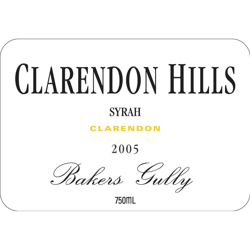 Clarendon Hills Bakers Gully Syrah 2005 Front Label