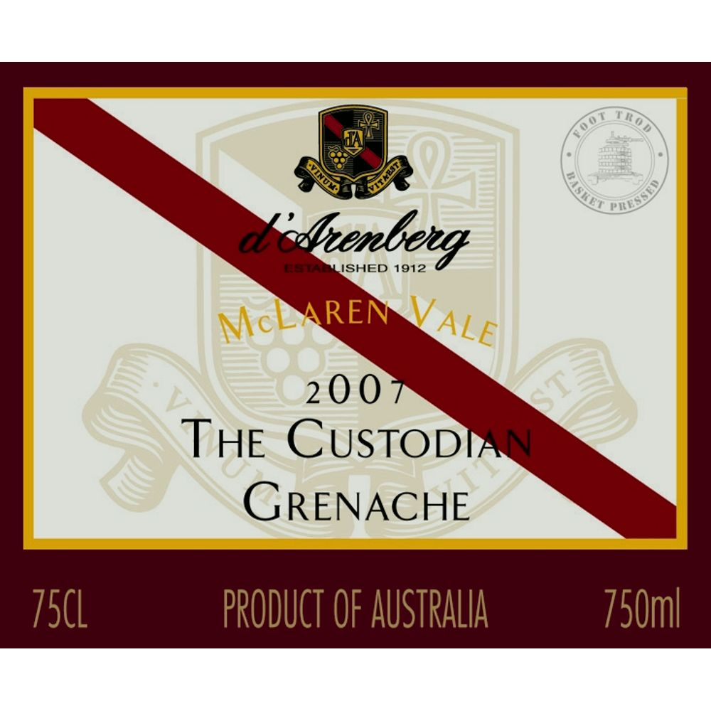 d'Arenberg The Custodian Grenache 2007 Front Label