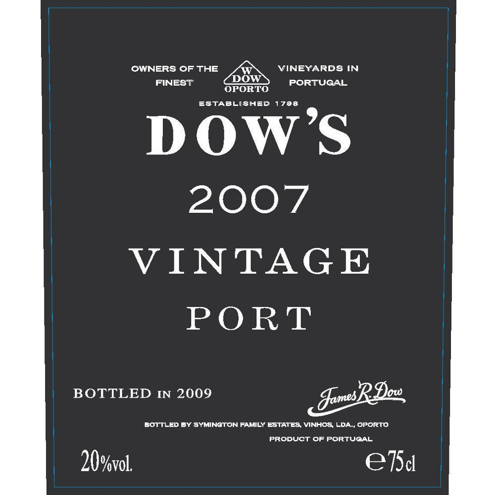 Dow's Vintage Port (375ML half-bottle) 2007 Front Label