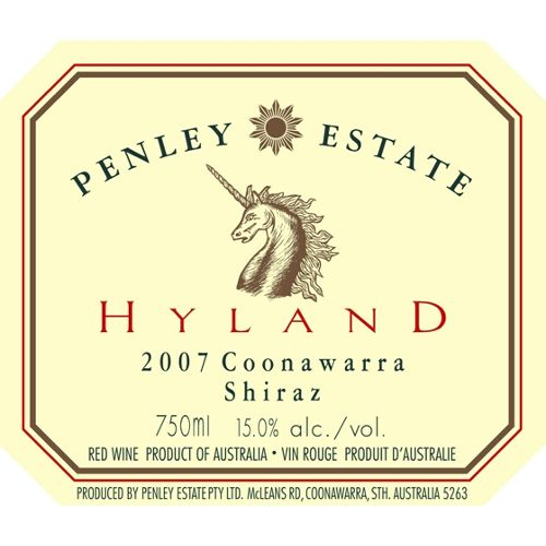 Penley Estate Hyland Shiraz 2007 Front Label