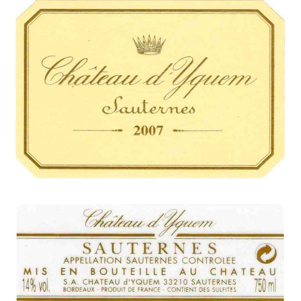 Chateau d'Yquem Sauternes (375ML half-bottle) 2007 Front Label