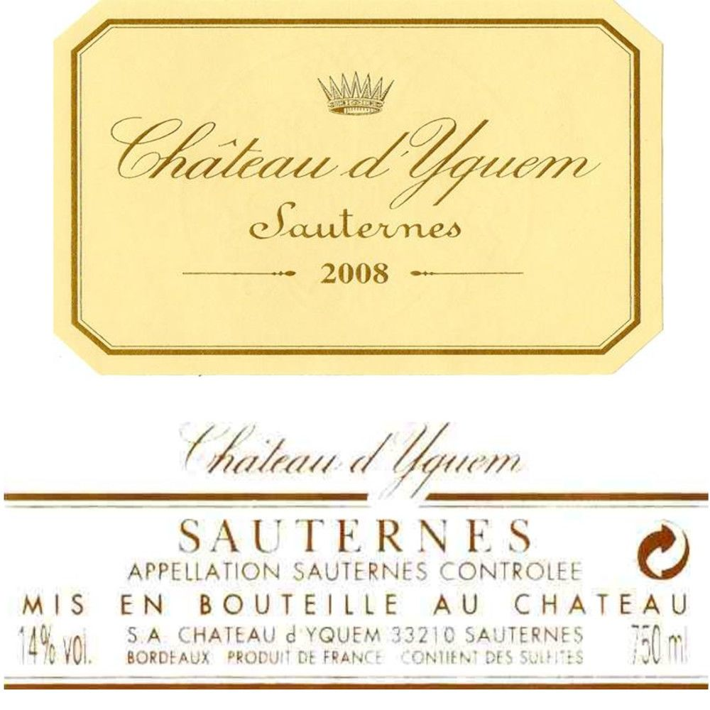 Chateau d'Yquem Sauternes (375ML half-bottle) 2008 Front Label