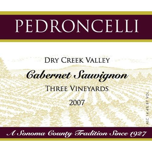 Pedroncelli Three Vineyards Dry Creek Cabernet Sauvignon 2007 Front Label