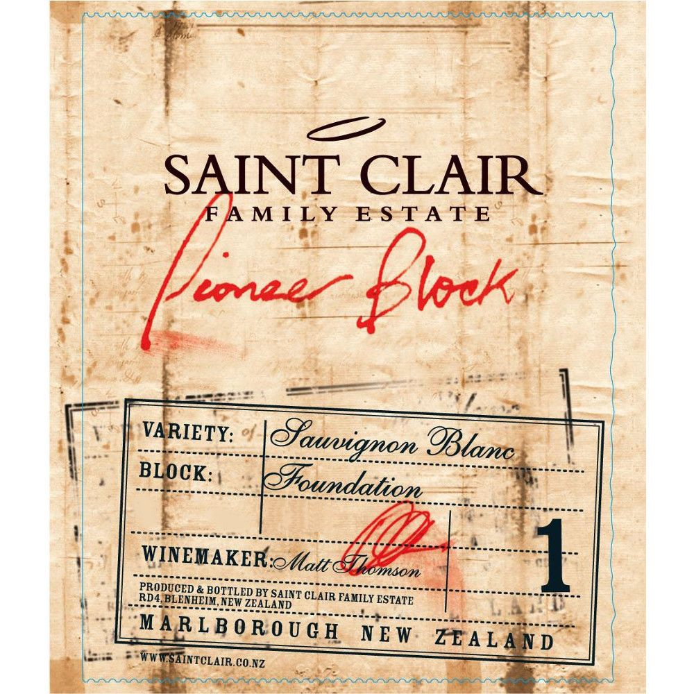 Saint Clair Pioneer Block 1 Foundation Sauvignon Blanc 2009 Front Label
