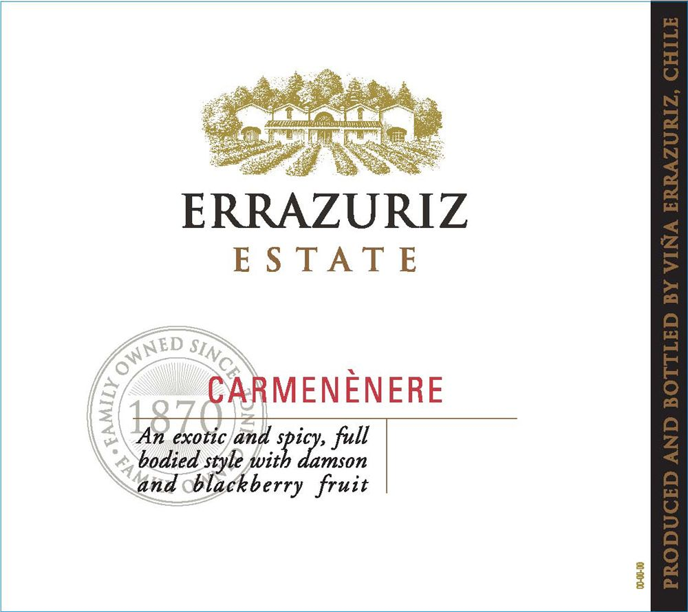 Errazuriz Estate Carmenere 2009 Front Label