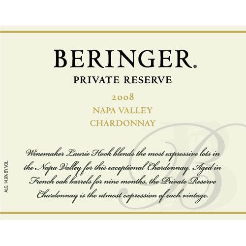 Beringer Private Reserve Chardonnay 2008 Front Label