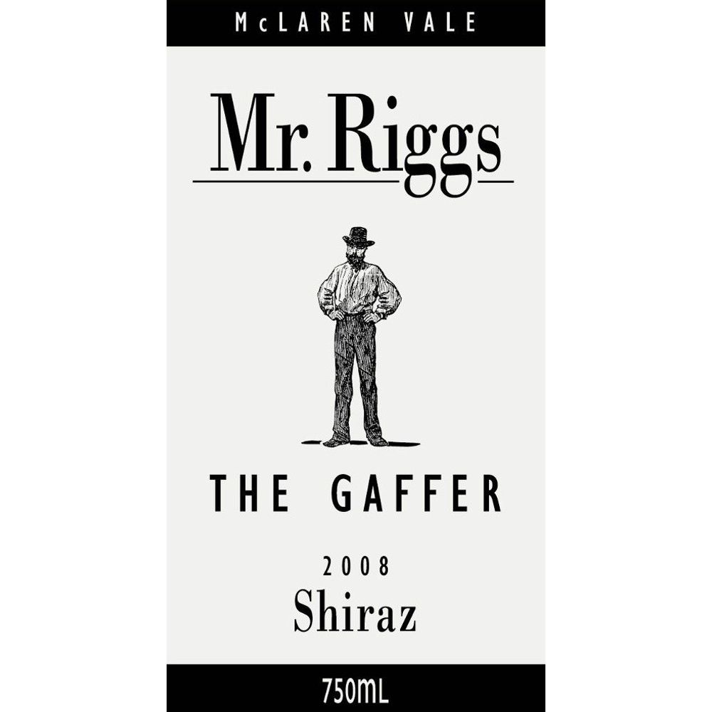 Mr. Riggs The Gaffer Shiraz 2008 Front Label