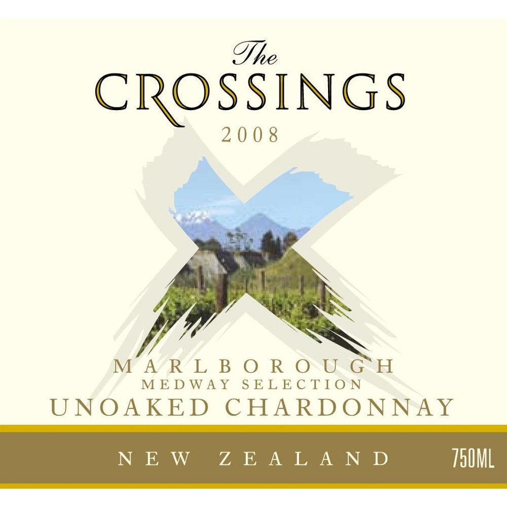The Crossings Unoaked Chardonnay 2008 Front Label
