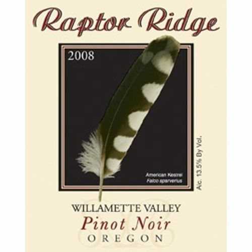 Raptor Ridge Willamette Valley Pinot Noir 2008 Front Label