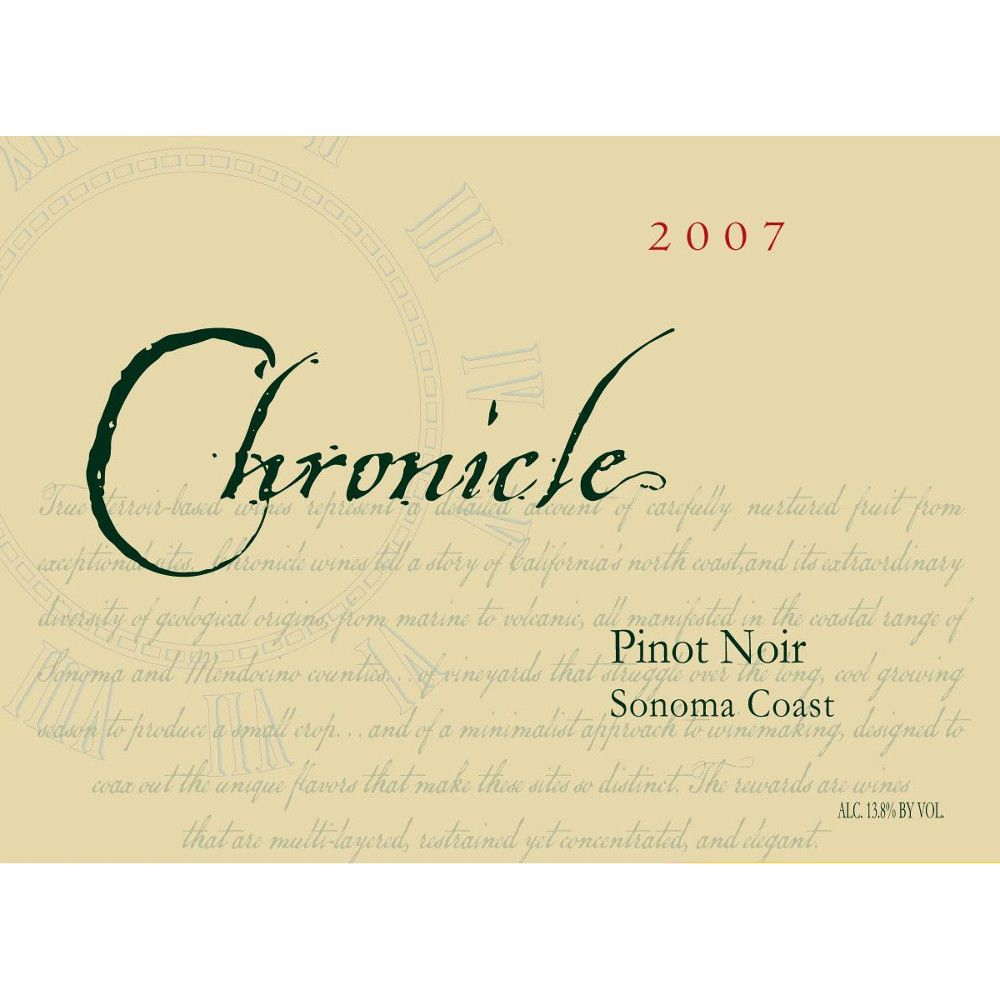 Chronicle Wines Sonoma Coast Pinot Noir 2007 Front Label