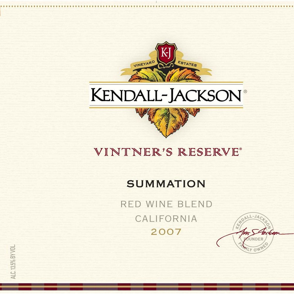Kendall-Jackson Summation Red Blend 2007 Front Label