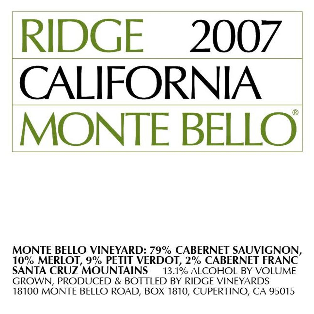 Ridge Monte Bello 2007 Front Label