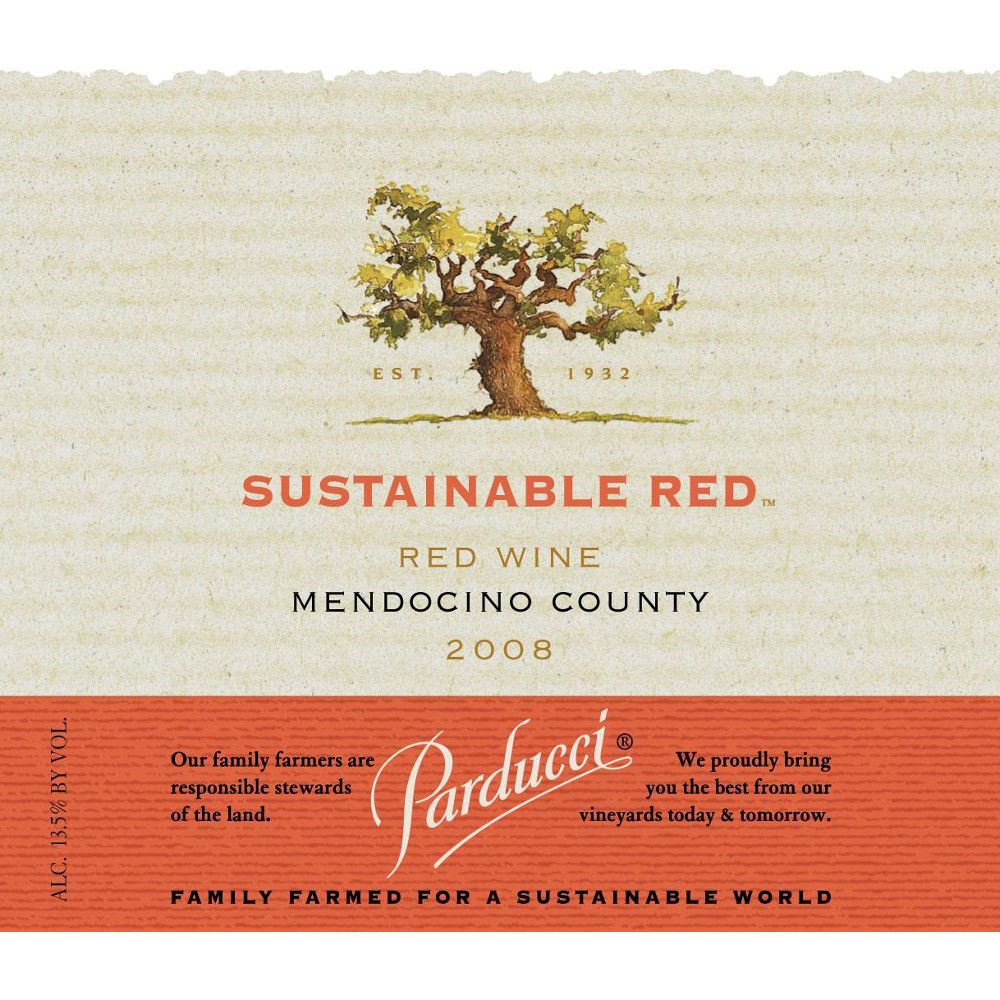 Parducci Sustainable Red Blend 2008 Front Label