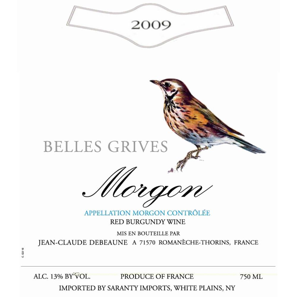 Duboeuf Morgon Belles Grives 2009 Front Label