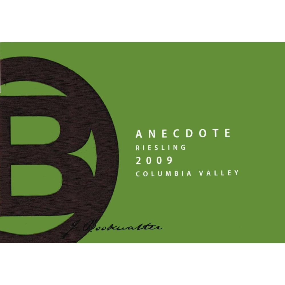 J. Bookwalter Anecdote Riesling 2009 Front Label