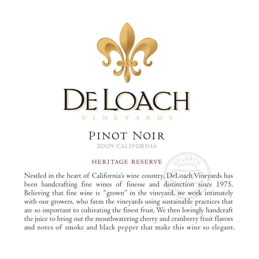 DeLoach Heritage Reserve Pinot Noir 2009 Front Label